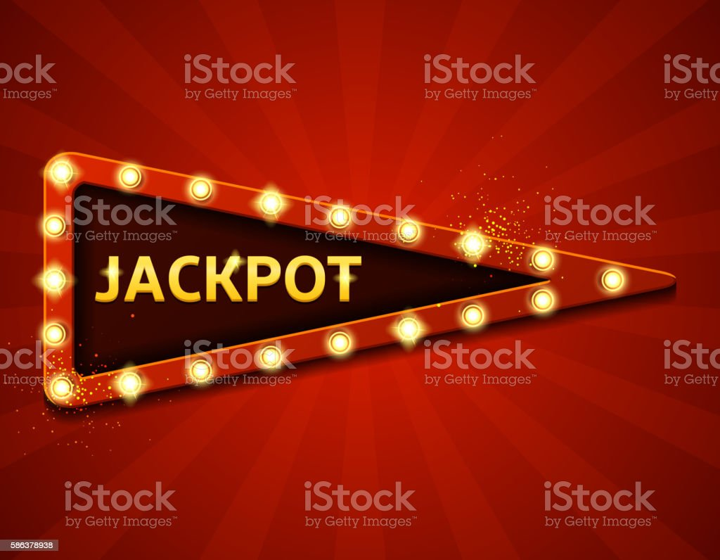 Jackpot retro label with glowing lamps vector art illustration