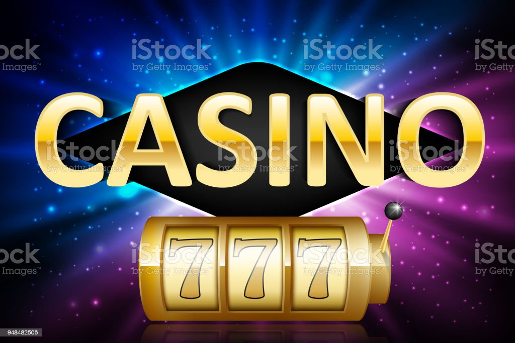 Jackpot shiny gold lucky casino lotto label with neon frame. Casino 777 jackpot winner design gamble with shining text. Vector illustration vector art illustration