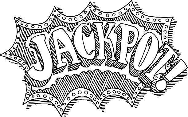Jackpot Text Drawing Hand-drawn vector drawing of a Jackpot Text. Black-and-White sketch on a transparent background (.eps-file). Included files are EPS (v10) and Hi-Res JPG. game stock illustrations