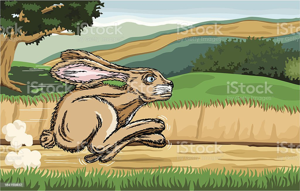Jackrabbit Running Along a Country Road with Country Scene Background royalty-free stock vector art