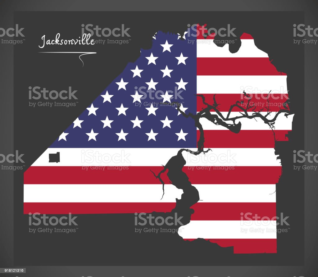Jacksonville Florida map with American national flag illustration vector art illustration