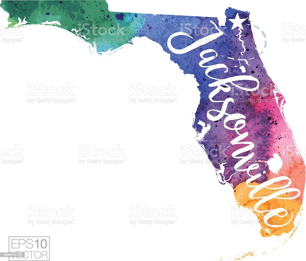 Jacksonville Florida Vector Watercolor Map Stock Vector Art More