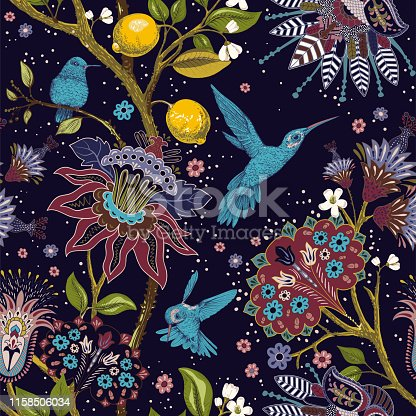 Jacobean seamless pattern. Flowers background, decorative style. Stylized climbing flowers. Decorative ornament backdrop for fabric, textile, wrapping paper, card, invitation, wallpaper web