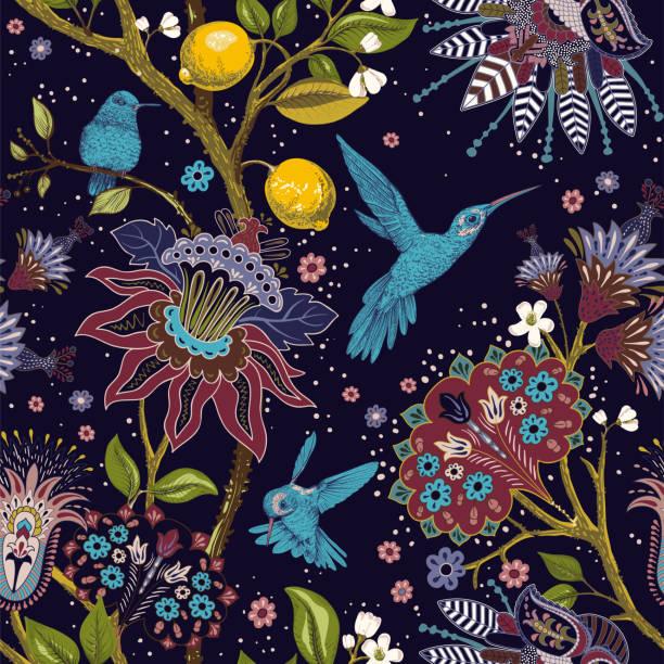 jacobean nahtlose muster. blumen hintergrund, dekorativen stil. stilisierte kletterblumen. dekorative ornament hintergrund für stoff, textil, packpapier, karte, einladung, tapete - tapete stock-grafiken, -clipart, -cartoons und -symbole