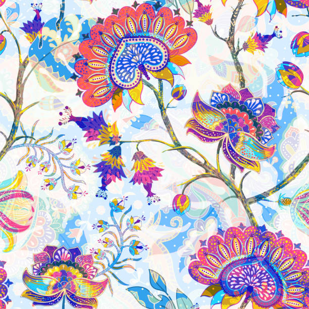 stockillustraties, clipart, cartoons en iconen met jacobean naadloos patroon. bloemen achtergrond, etnische stijl. gestileerde klim bloemen. decoratieve ornament achtergrond voor stof, textiel, inpakpapier, kaart, uitnodiging, behang, web design - turkse cultuur