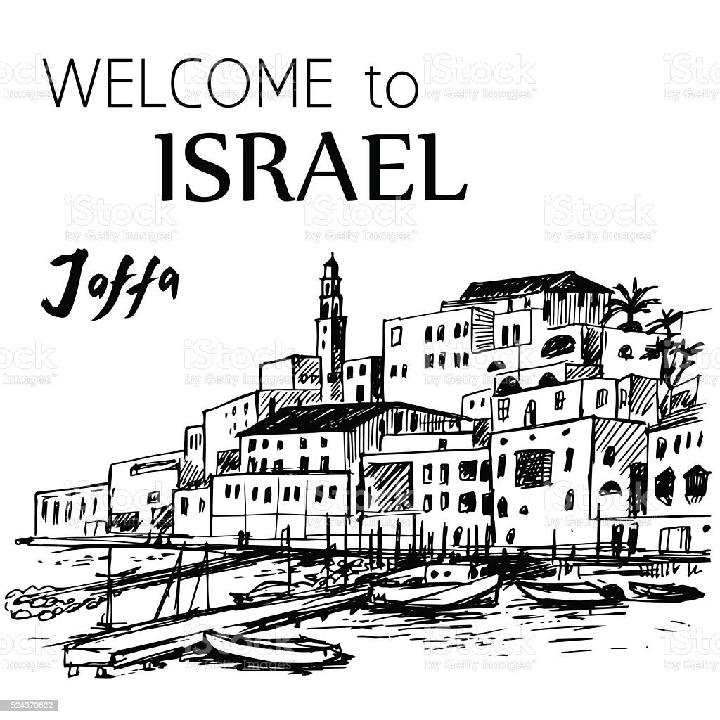 Jaffa old port - Israel vector art illustration