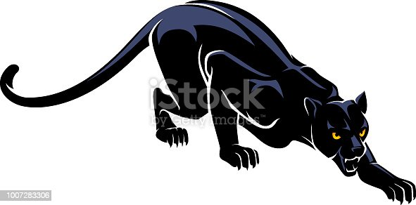 Isolated vector illustration of a black jaguar slowly crawling.