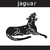 Jaguar In Grunge Style Silhouette Hand Drawn Animal