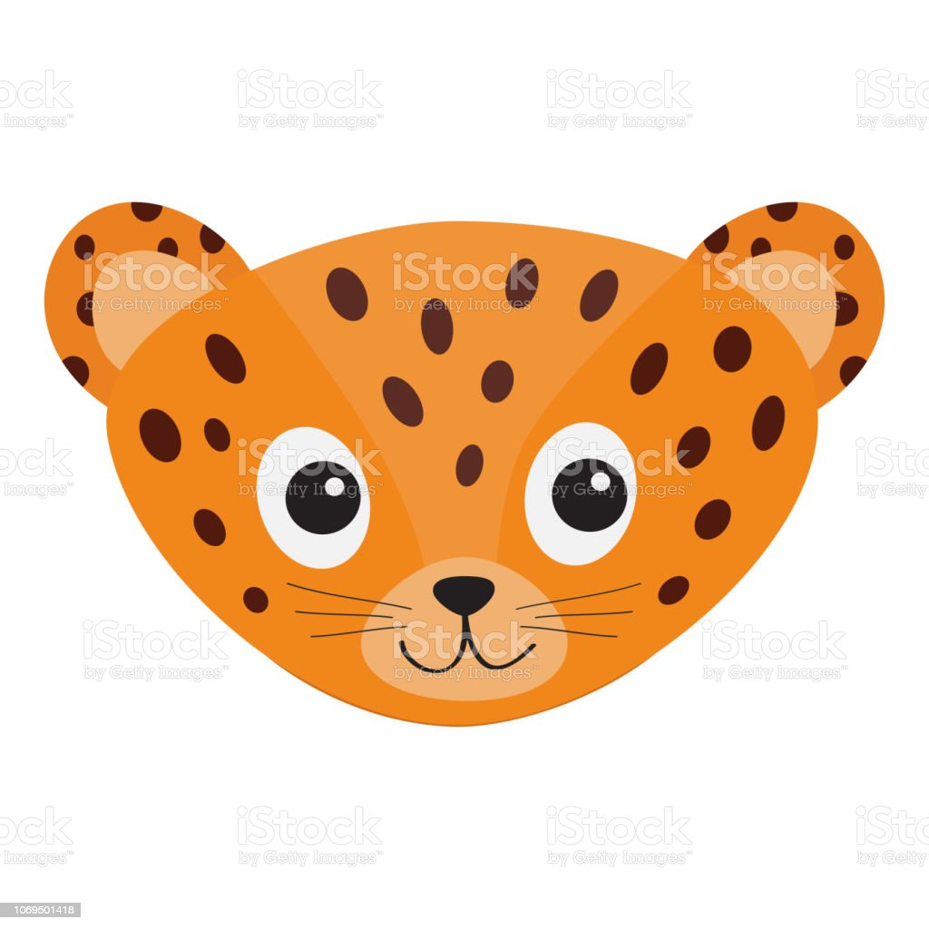 Tete De Leopard De Jaguar Chat Sauvage Visage Souriant Panthere Orange Avec Spot Personnage De Dessin Anime Mignon Collection Animale Bebe Dessin Enfantin Isole Fond Blanc Style Design Plat Vecteurs Libres De