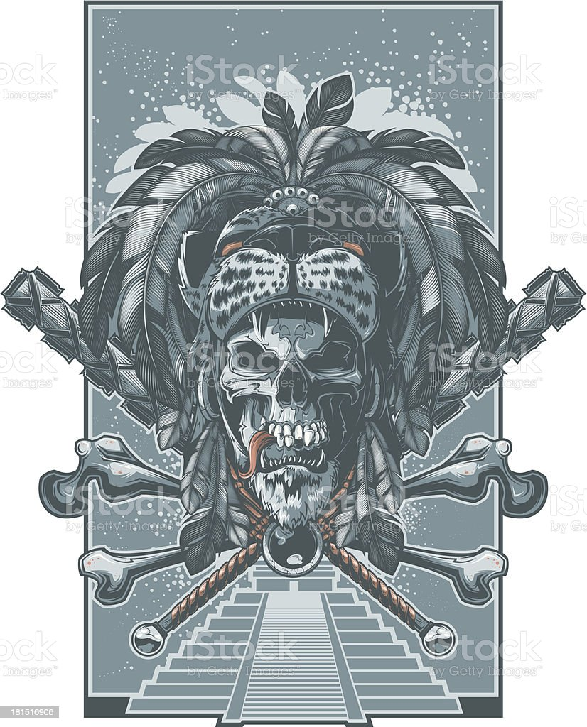 jaguar warrior skull royalty-free stock vector art