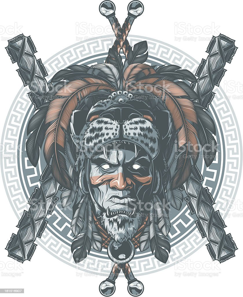 Jaguar warrior vector art illustration