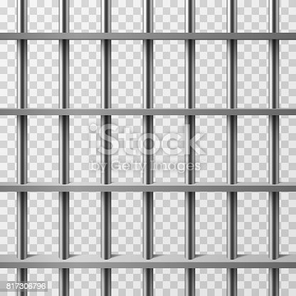 Jail Cell Bars Isolated Prison Vector Background Stock