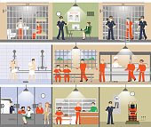 Jail interior set.