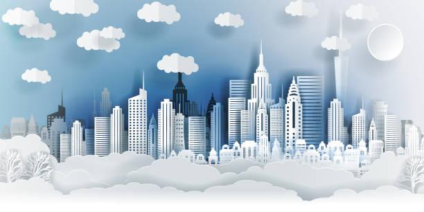 자카르타 시 개념, 인도네시아입니다. 건물, 타워, 구름 뒤에 종이 예술 도시. 종이 접기 및 여행 개념, 벡터 종이 아트 일러스트 레이 션. - 자카르타 stock illustrations