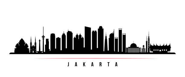 자카르타 시 스카이 라인 수평 배너입니다. 자카르타 시, 인도네시아의 그림자는 흑인과 백인. 디자인을 위한 벡터 템플릿입니다. - 자카르타 stock illustrations