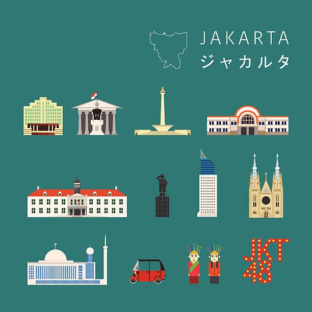 자카르타 아이콘크기 - 자카르타 stock illustrations