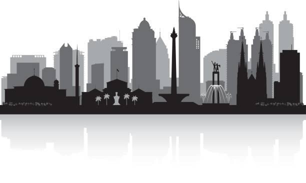 자카르타 인도네시아 도시 스카이 라인 실루엣 - 자카르타 stock illustrations