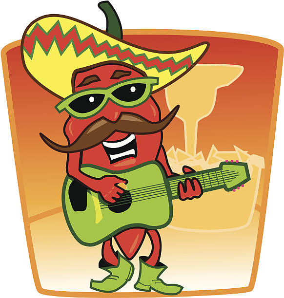 Jalapeno Playing Guitar Jalapeno pepper playing guitar on a table in front of margarita and chips. mexican restaurant stock illustrations