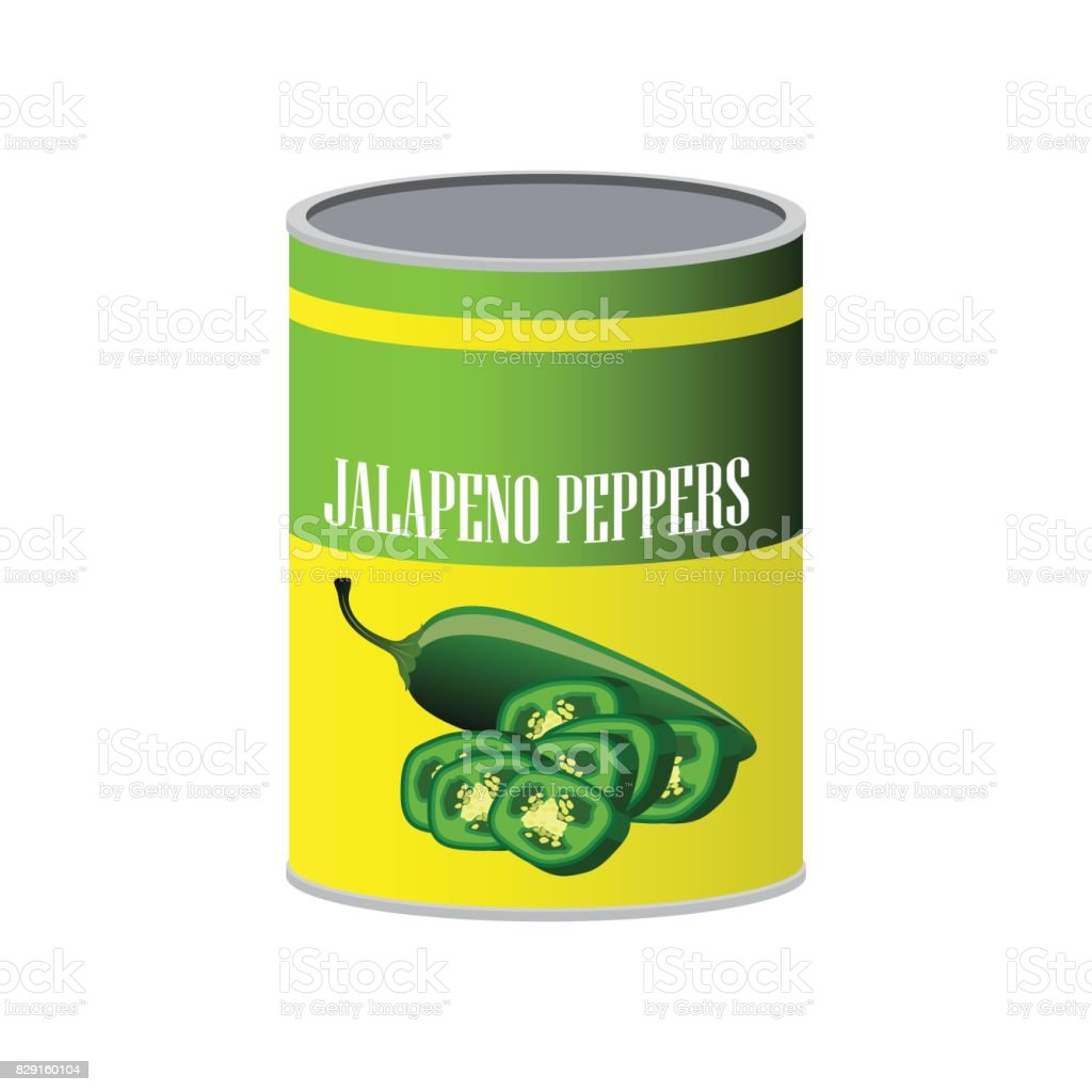 Jalapenos pickle in a can as canned food. vector illustration vector art illustration