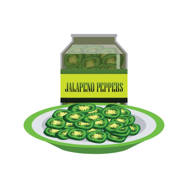 Jalapenos pickle in a glass as canned food. vector illustration Jalapenos pickle in a glass as canned food. vector illustration pickle slice stock illustrations