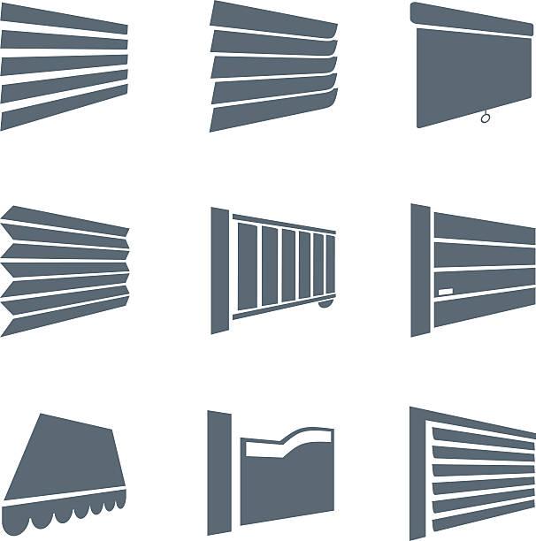 Jalousie icons - illustration Vector illustration of various jalousies gate stock illustrations