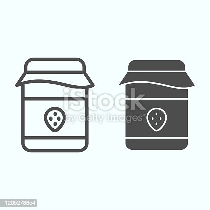 Jam can line and solid icon. Food preservation jar with strawberry sweets. Autumn season vector design concept, outline style pictogram on white background, use for web and app. Eps 10