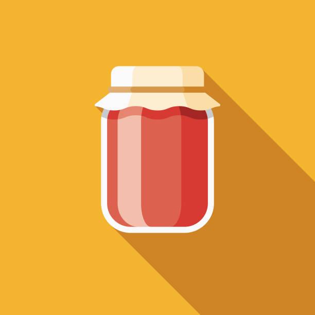 ilustrações de stock, clip art, desenhos animados e ícones de jam flat design breakfast icon - jam jar