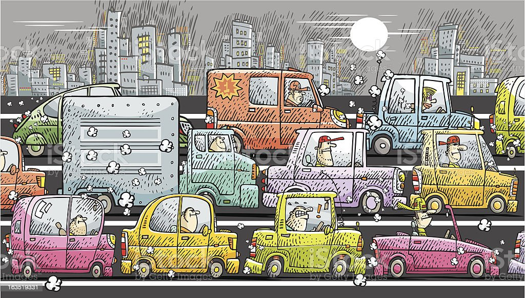 jam in the city vector art illustration