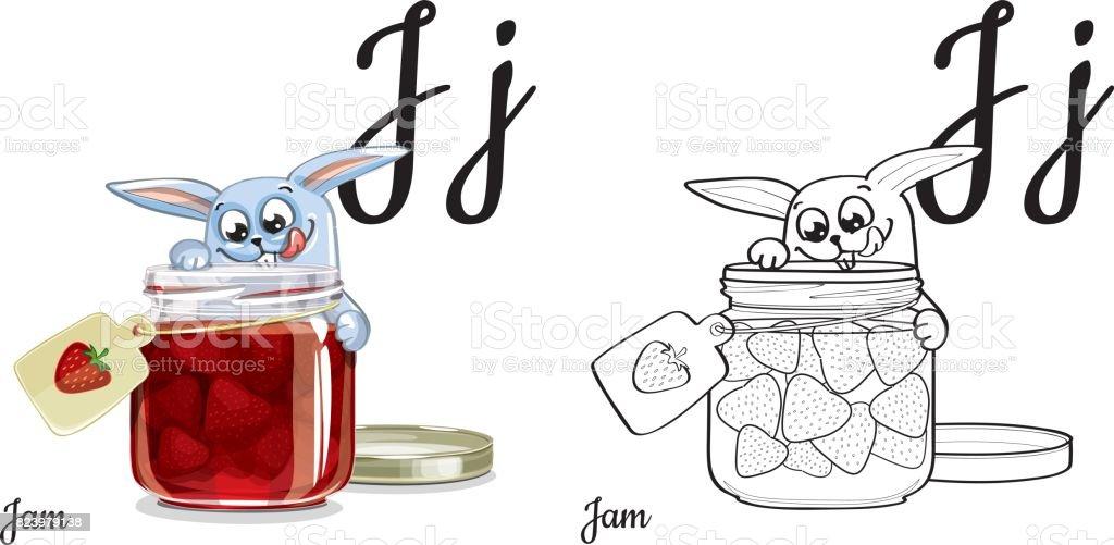 Ilustración de Letra J Página Para Colorear Del Alfabeto De Vector ...
