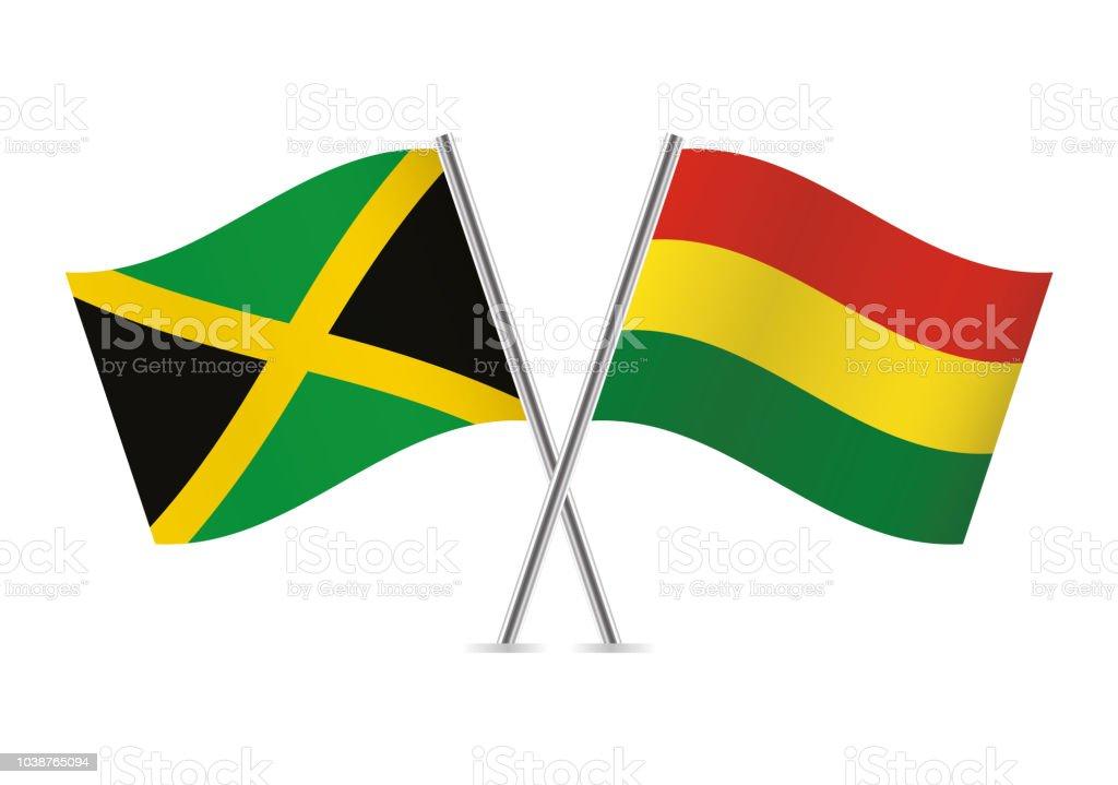 Banderas de Jamaica y Bolivia. Ilustración de vector. - ilustración de arte vectorial