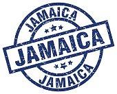 Jamaica blue round grunge stamp