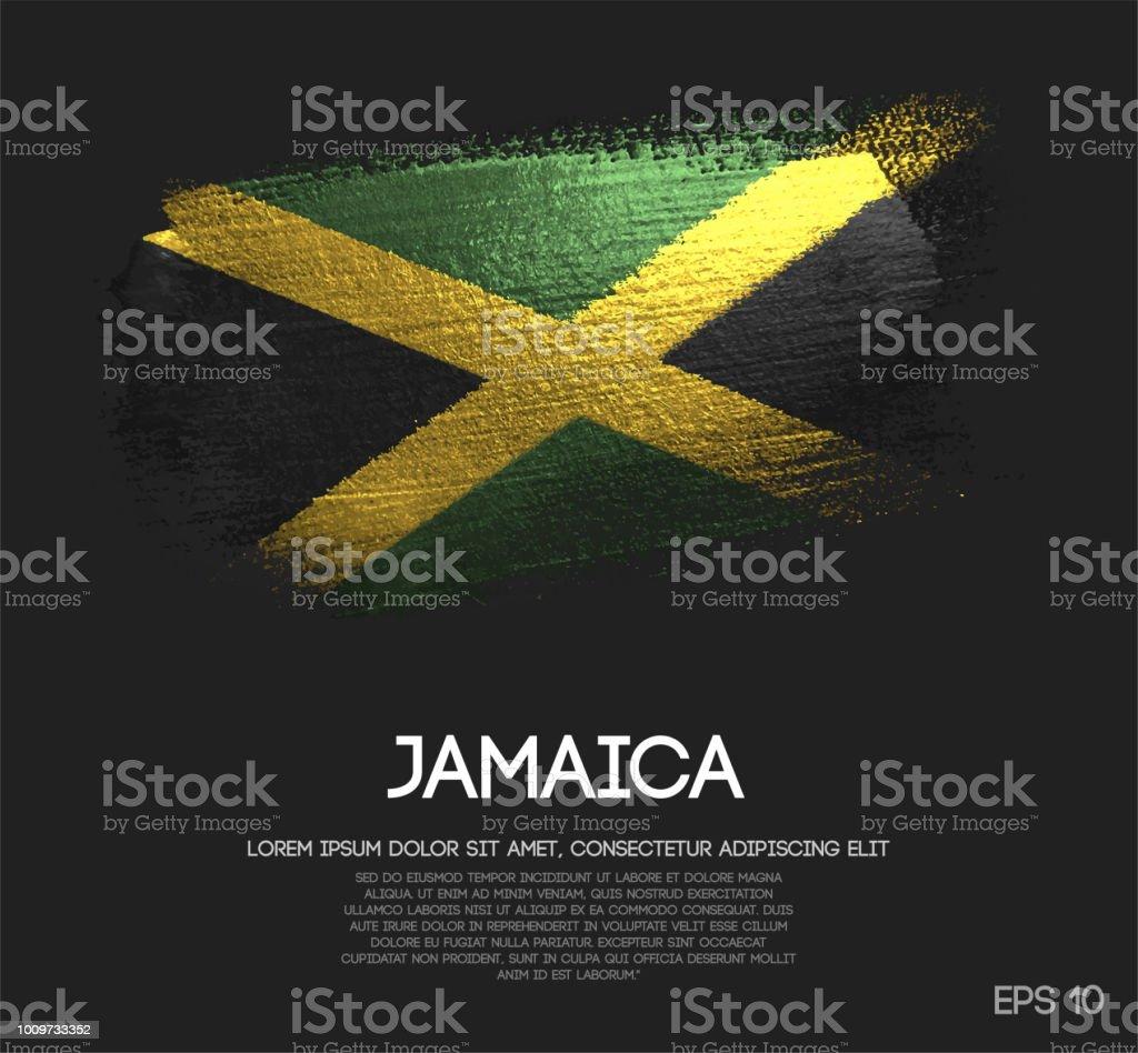 Jamaica Flag Made of Glitter Sparkle Brush Paint Vector