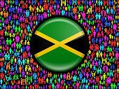 Jamaica Flag on Stick Figure royalty free vector art Pattern