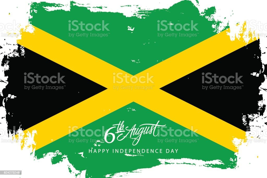 Jamaica Happy Independence Day, 6 august greeting card with jamaican flag brush stroke background and hand lettering.
