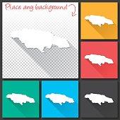 Jamaica Map for design, Long Shadow, Flat Design