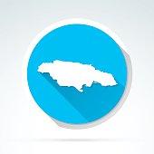 Jamaica map icon, Flat Design, Long Shadow