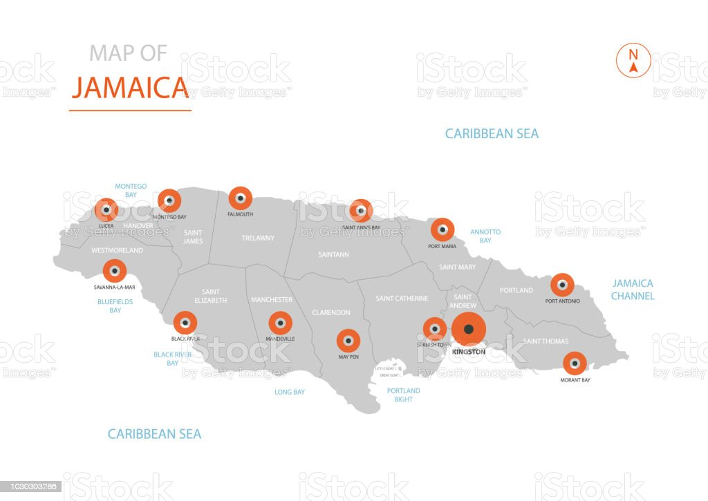 Jamaica Map With Administrative Divisions Stock Vector Art & More ...