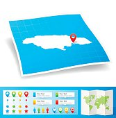 Jamaica Map with location pins isolated on white Background
