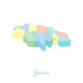 Jamaica region map: colorful isometric top view.
