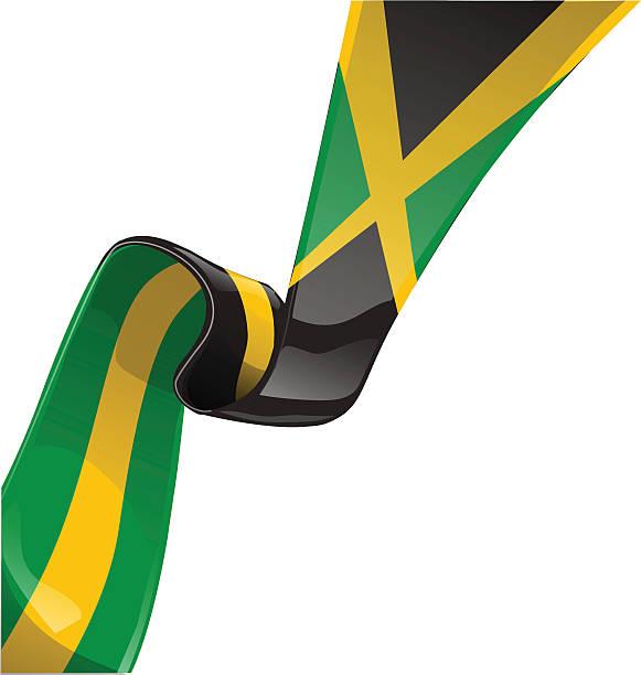 jamaica ribbon flag isolate on white vector art illustration