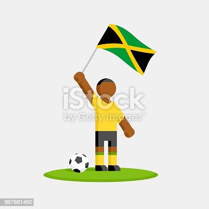 Ilustración de Jugador De Fútbol De Jamaica En Kit Con Bandera Y ...