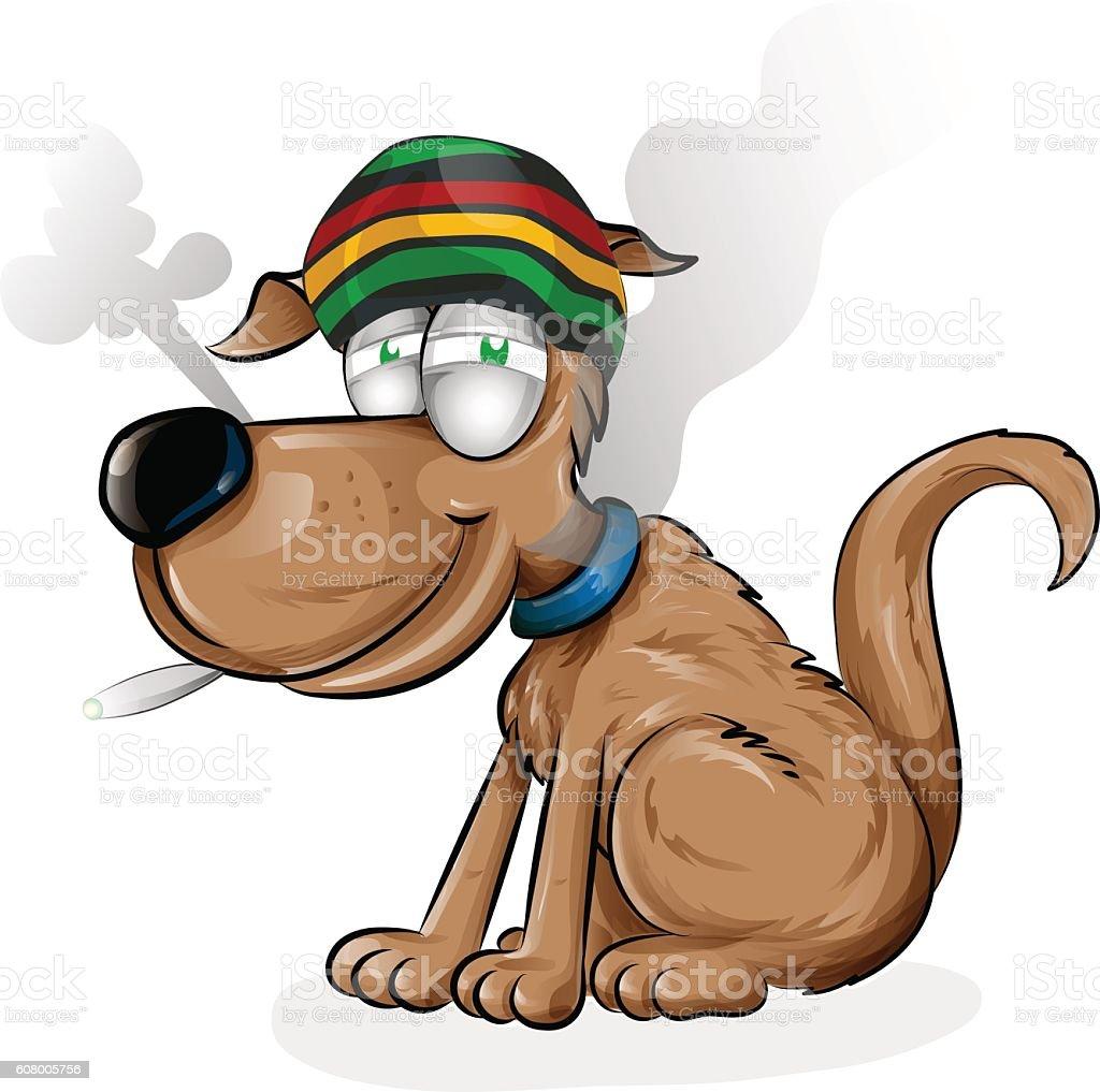 jamaican dog cartoon vector art illustration