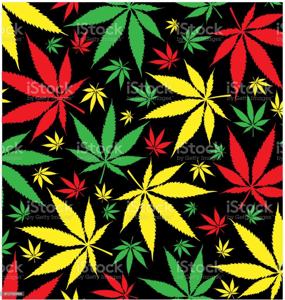 jamaican marijuana  pattern on black background vector art illustration
