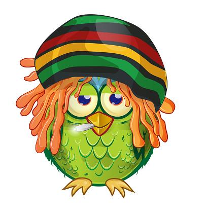 jamaican owl  mascot cartoon isolated on white bachground