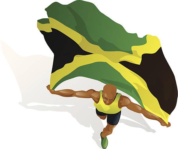 jamaikanische rennen gewinner - langstreckenlauf stock-grafiken, -clipart, -cartoons und -symbole