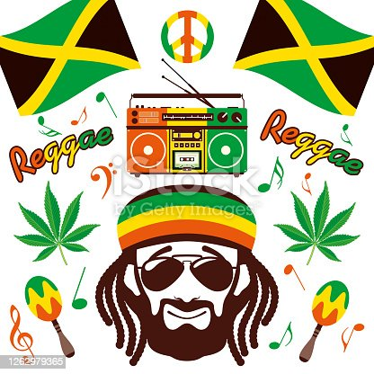 istock Jamaican Reggae Style Design Elements 1262979365
