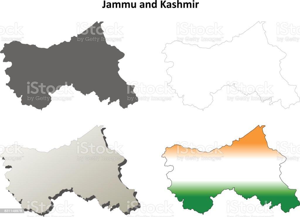 Jammu Und Kaschmir Leere Umriss Karte Gesetzt Stock Vektor Art und ...