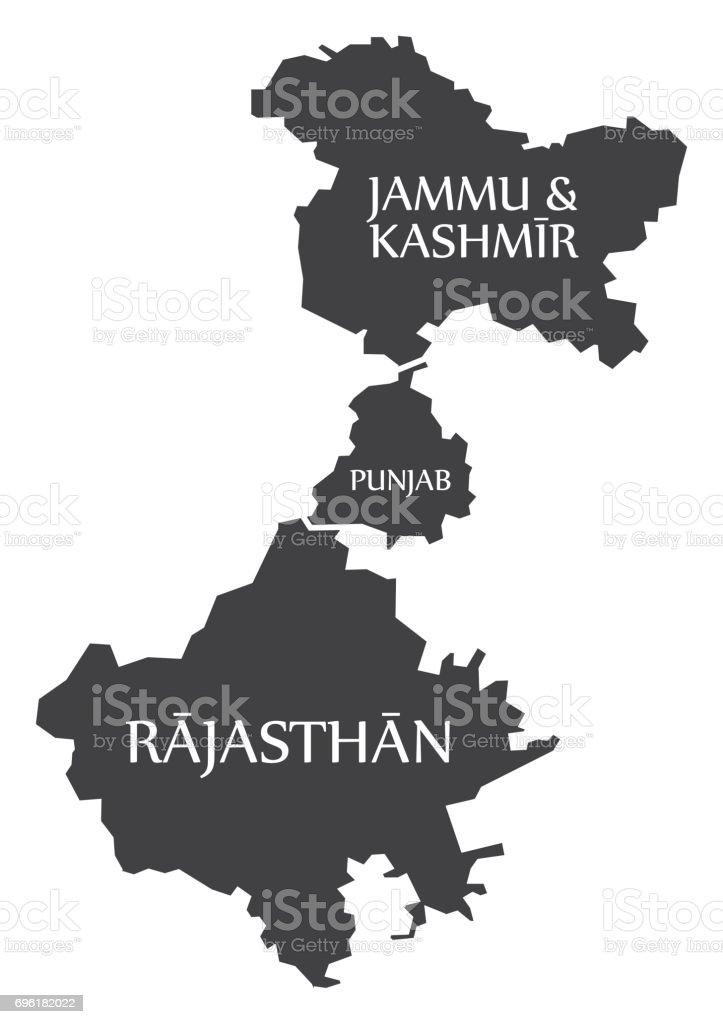 Jammu And Kashmir Punjab Rajasthan Map Illustration Of