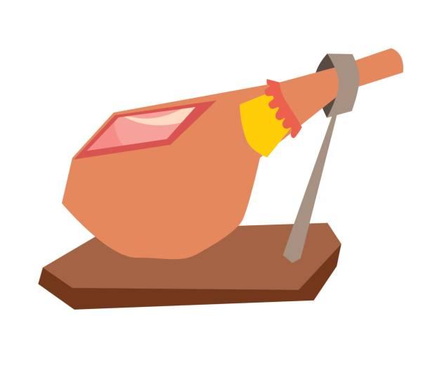 ilustraciones, imágenes clip art, dibujos animados e iconos de stock de jamon, ilustración vectorial española de alimentos. jamón curado tradicional en seco - comida española