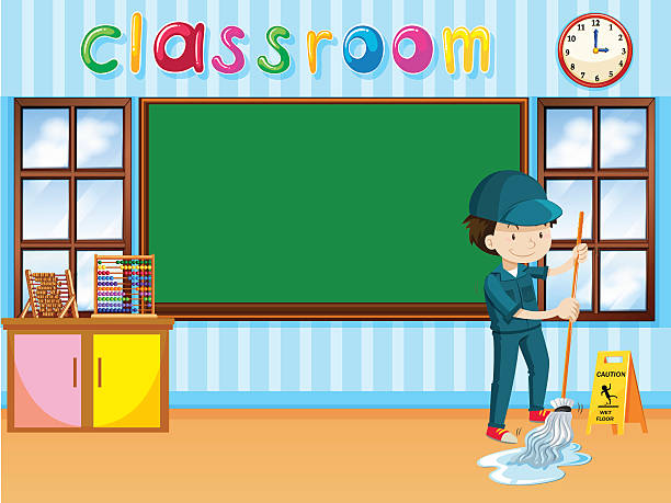 Classroom Cleaners Design ~ Royalty free school janitor clip art vector images